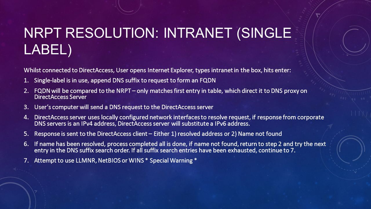 NRPT Resolution: intranet (single label)