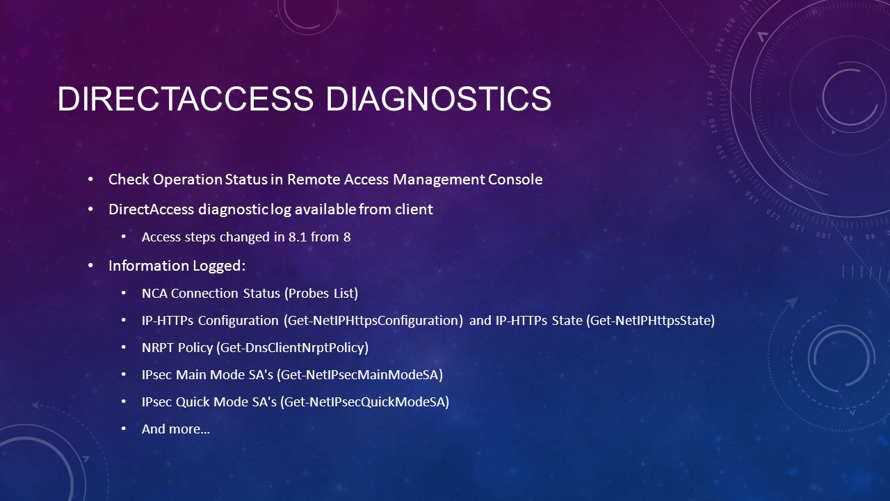 DirectAccess Diagnostics
