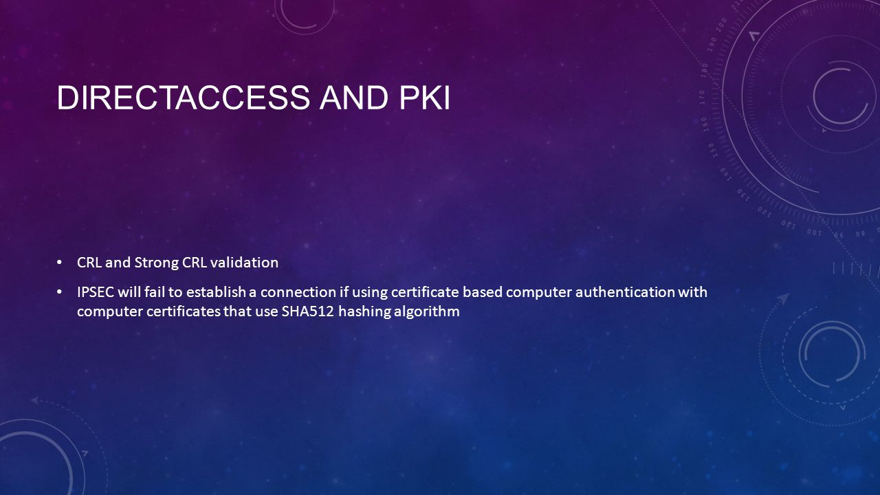 DirectAccess and PKI CRL and Strong CRL validation