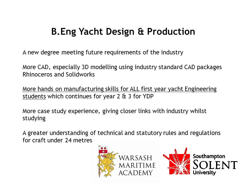 B.Eng Yacht Design & Production