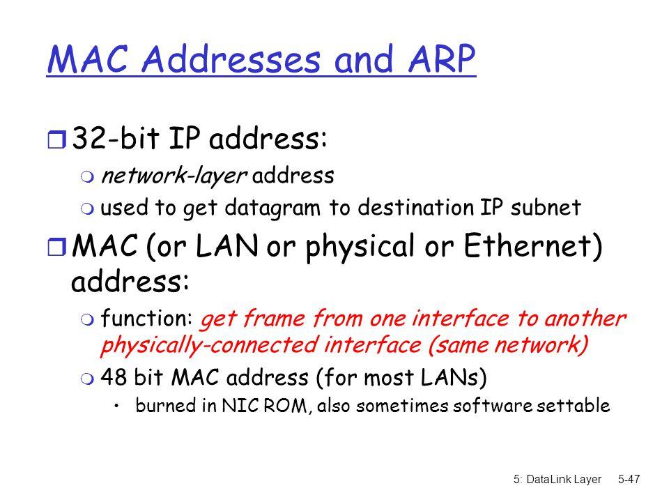 MAC Addresses and ARP 32-bit IP address: