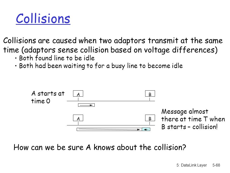Collisions Collisions are caused when two adaptors transmit at the same. time (adaptors sense collision based on voltage differences)