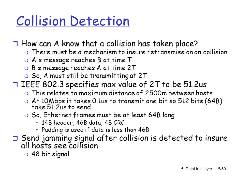 Collision Detection How can A know that a collision has taken place