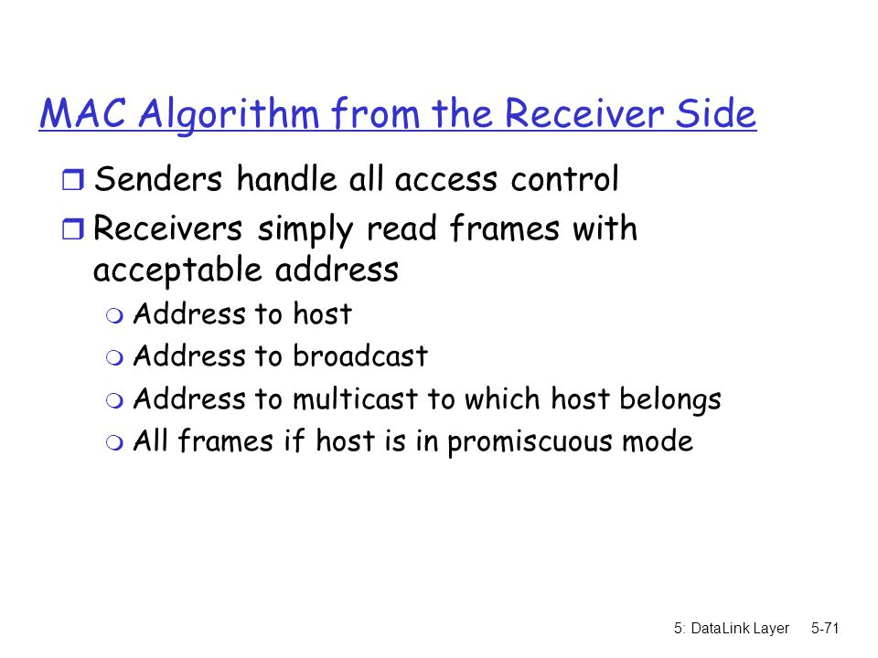 MAC Algorithm from the Receiver Side