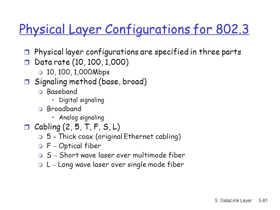 Physical Layer Configurations for 802.3