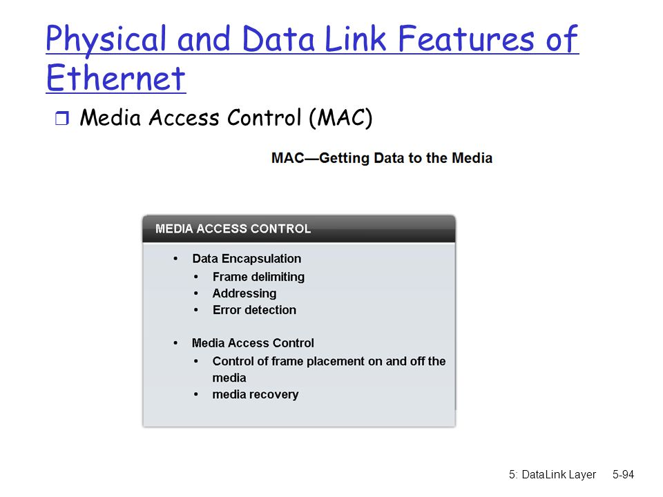 Physical and Data Link Features of Ethernet