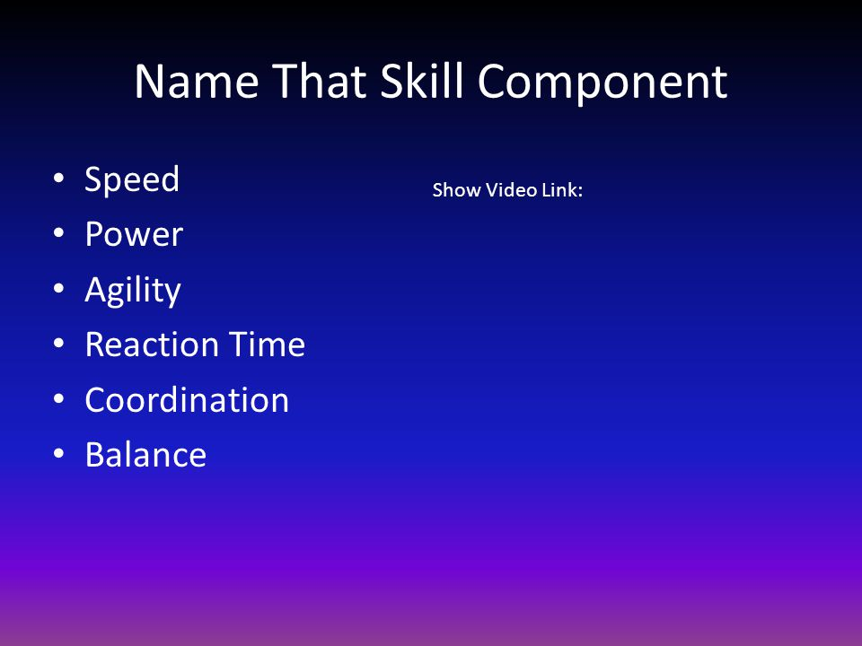 Name That Skill Component