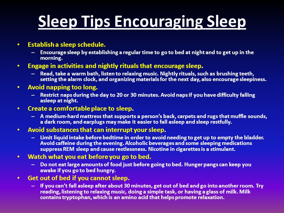 Sleep Tips Encouraging Sleep