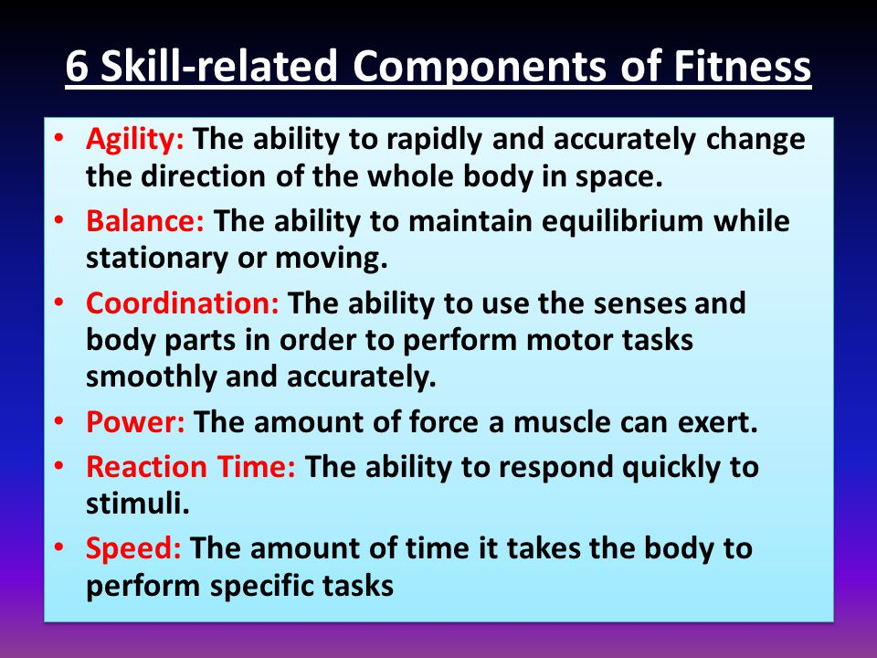6 Skill-related Components of Fitness
