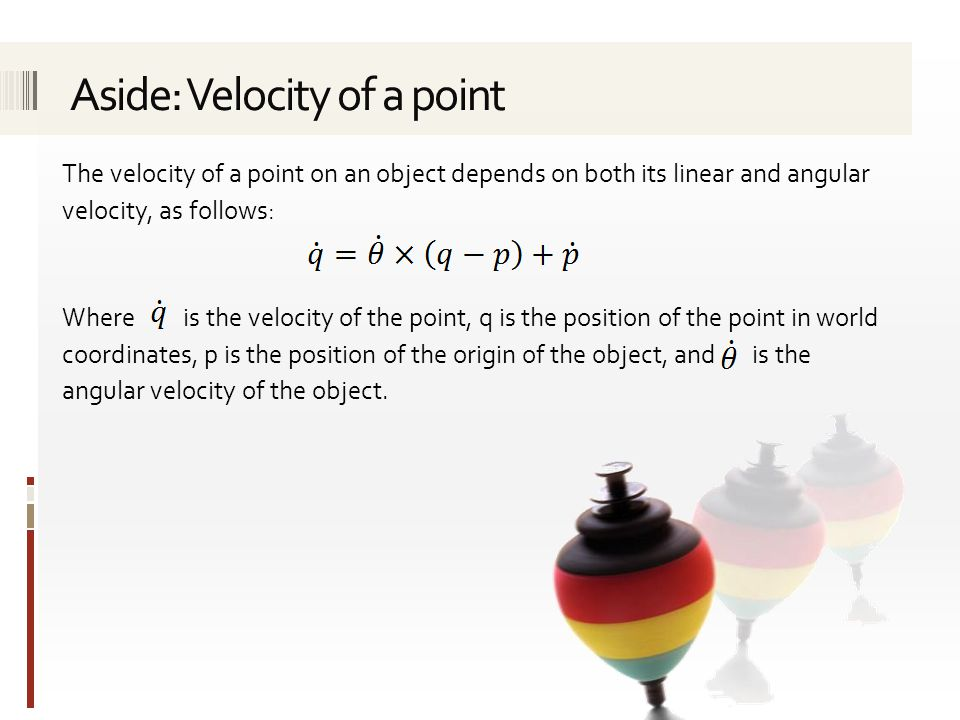 Aside: Velocity of a point