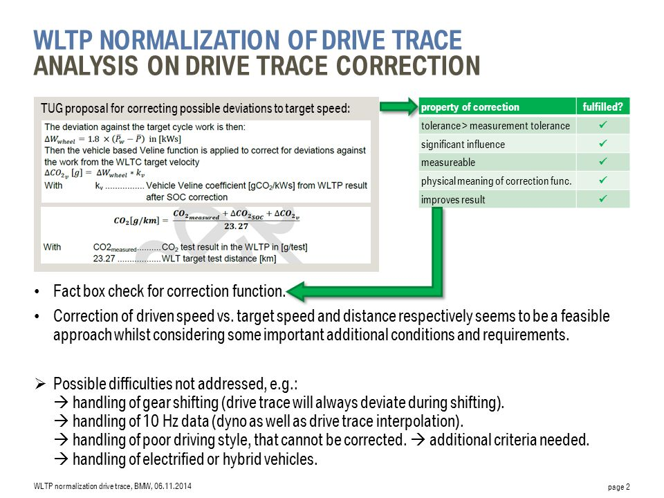 WLTP normalization of drive trace Analysis on drive trace correction