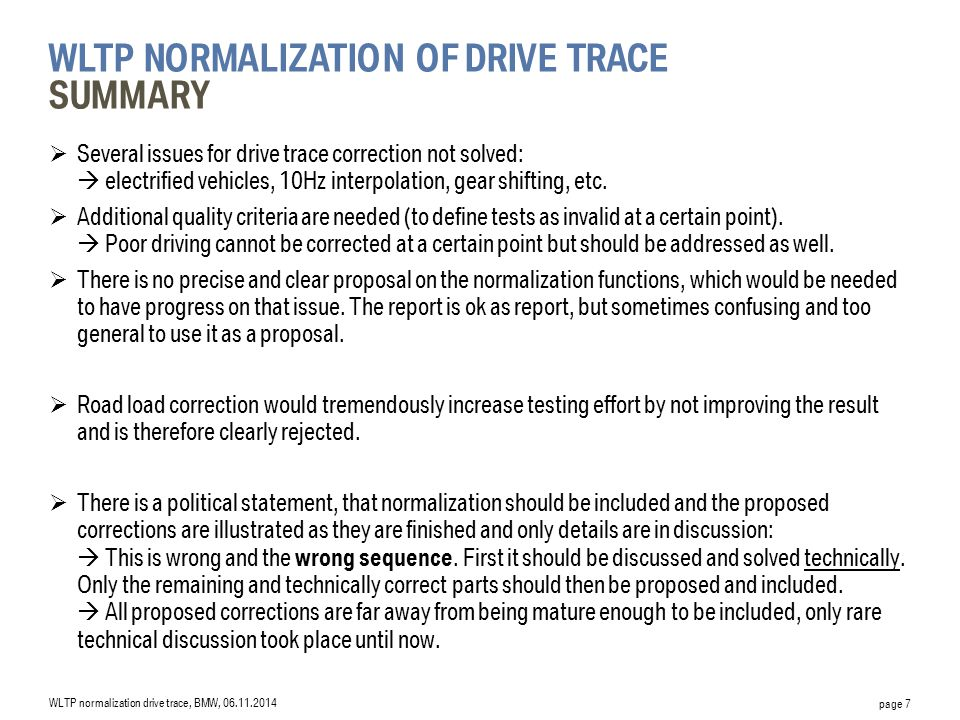 WLTP normalization of drive trace Summary