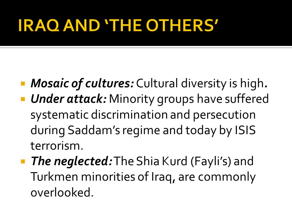 IRAQ AND 'THE OTHERS' Mosaic of cultures: Cultural diversity is high.