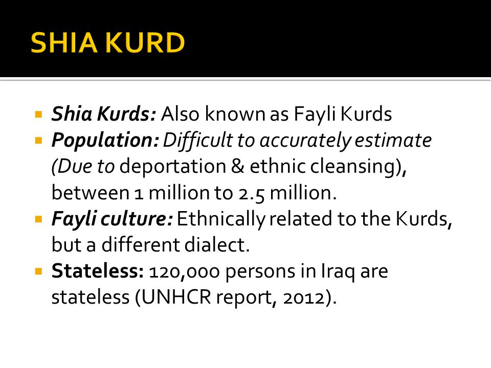 SHIA KURD Shia Kurds: Also known as Fayli Kurds