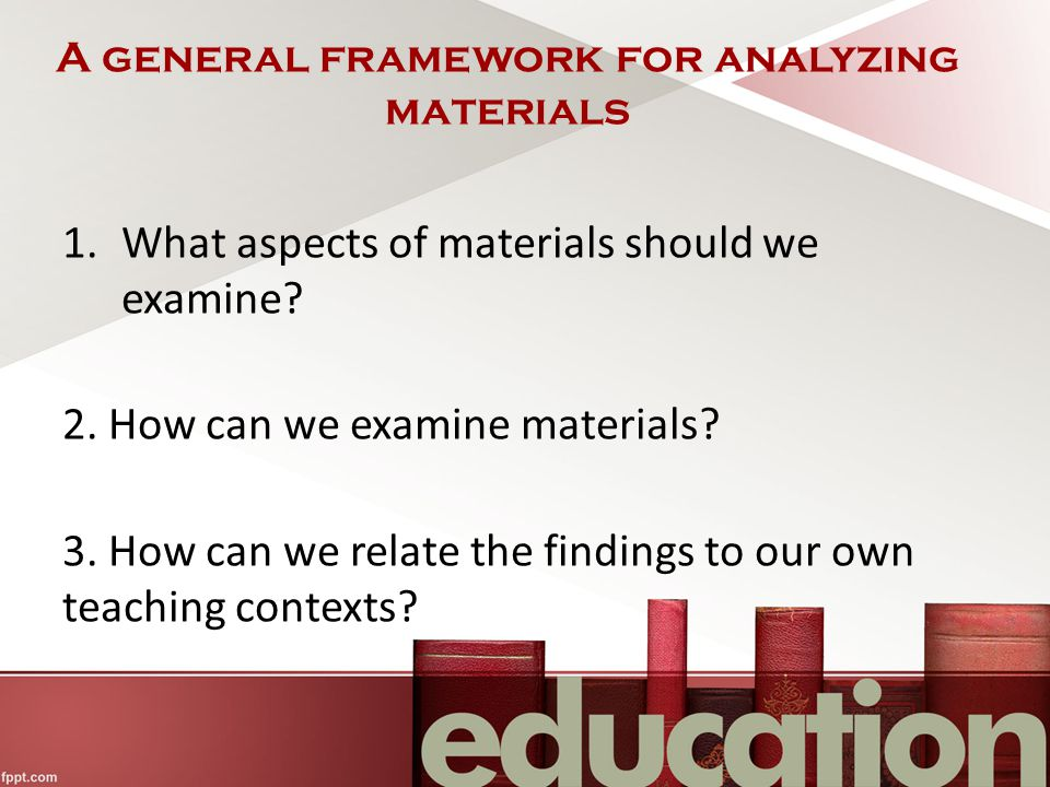 A general framework for analyzing materials