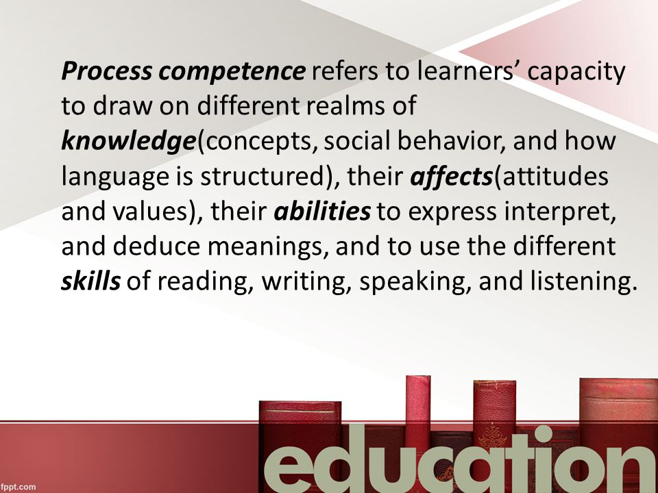 Process competence refers to learners' capacity to draw on different realms of knowledge(concepts, social behavior, and how language is structured), their affects(attitudes and values), their abilities to express interpret, and deduce meanings, and to use the different skills of reading, writing, speaking, and listening.