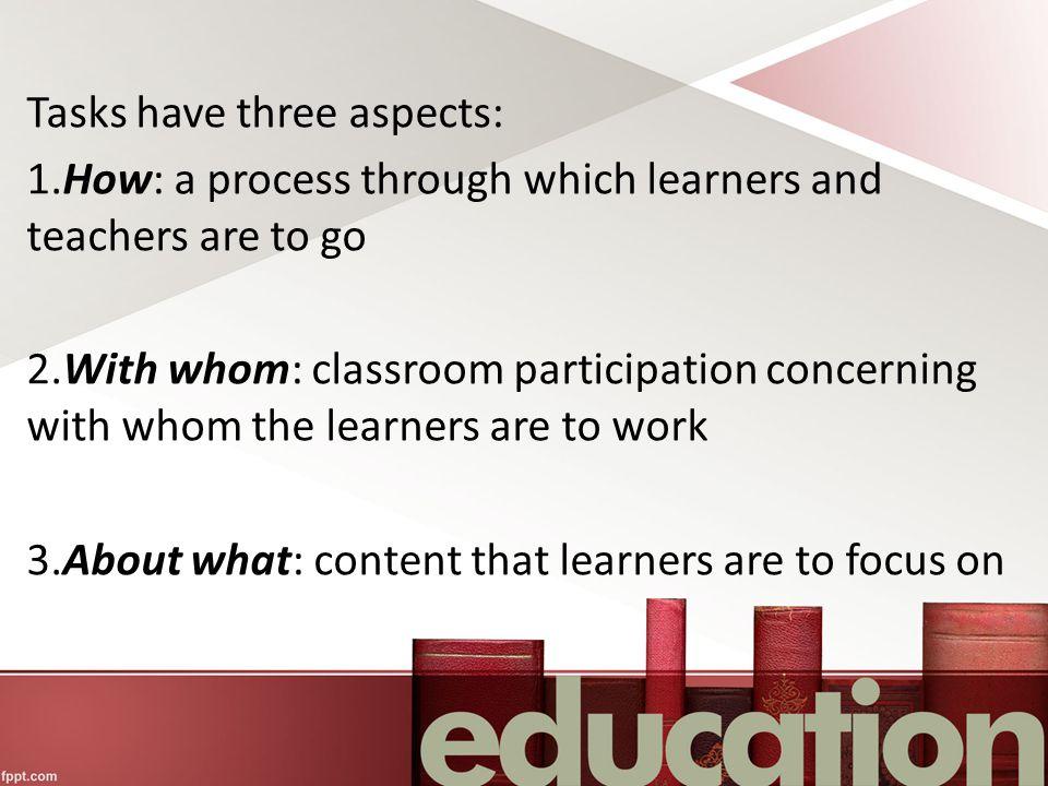 Tasks have three aspects: 1