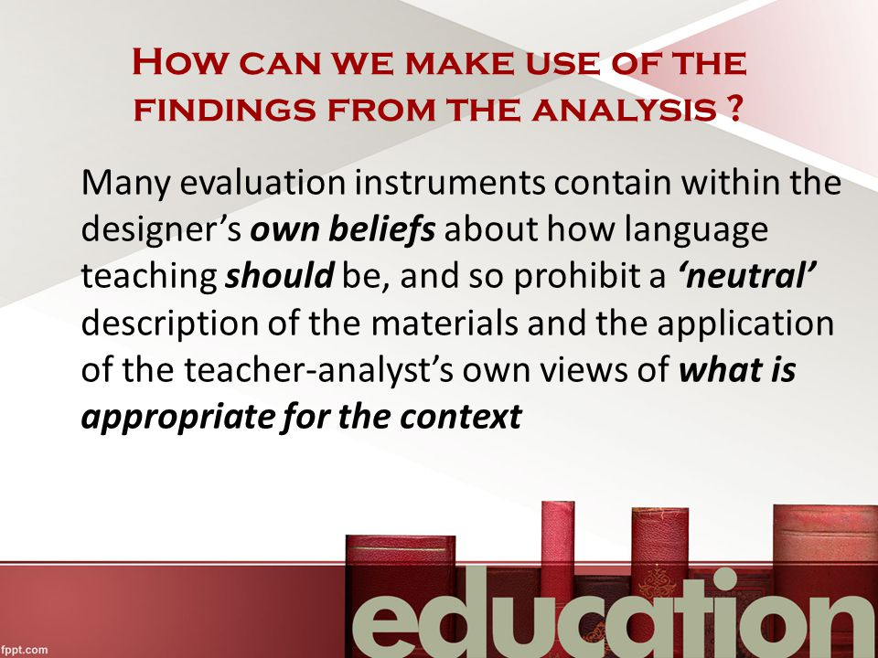 How can we make use of the findings from the analysis