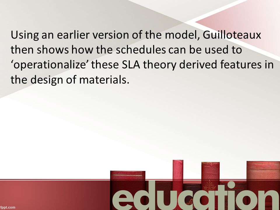 Using an earlier version of the model, Guilloteaux then shows how the schedules can be used to 'operationalize' these SLA theory derived features in the design of materials.