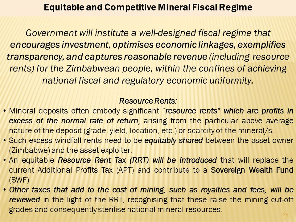 Equitable and Competitive Mineral Fiscal Regime