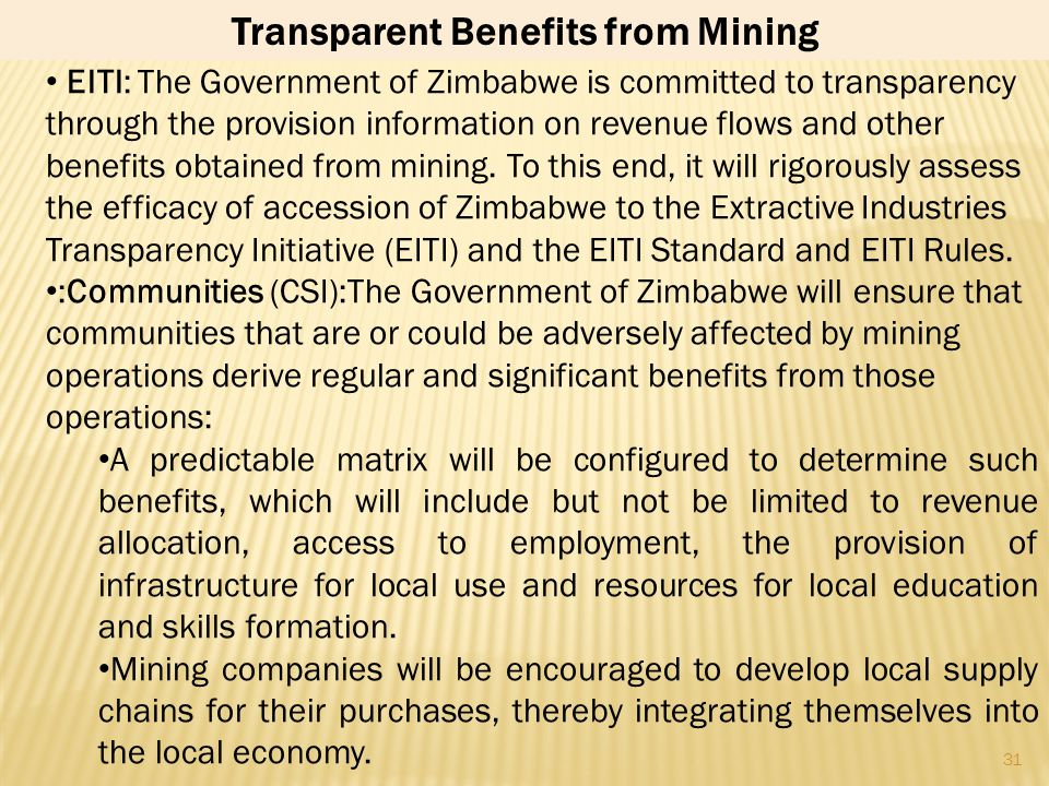 Transparent Benefits from Mining