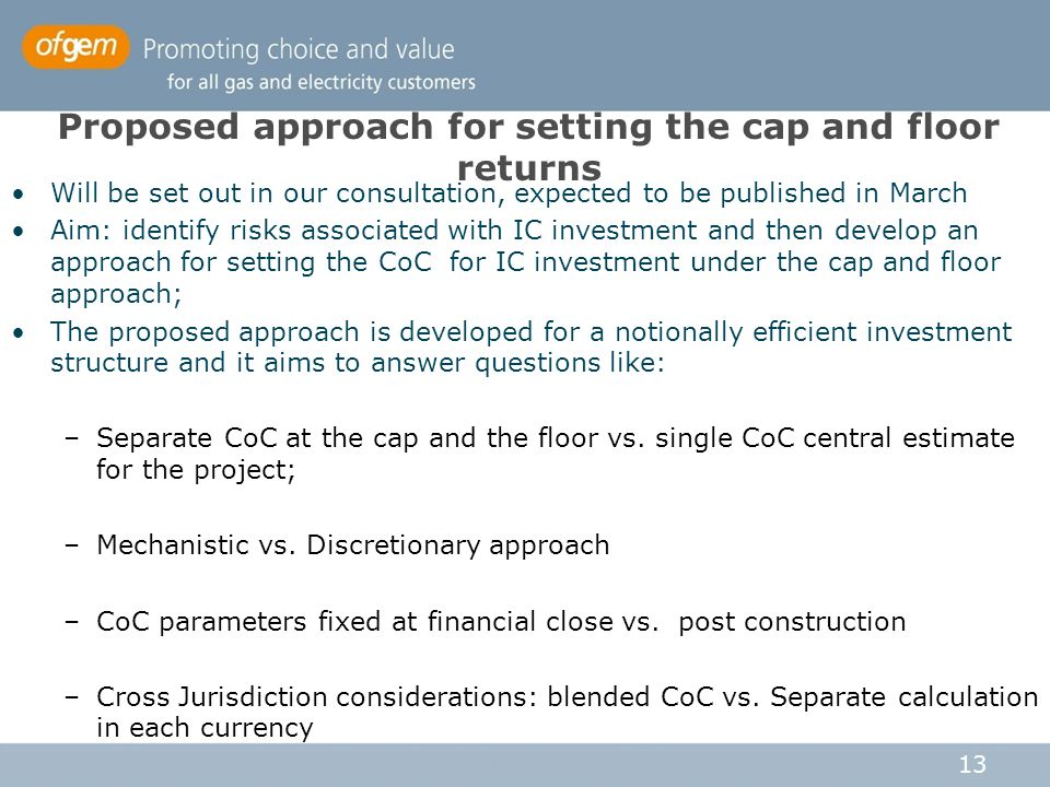 Proposed approach for setting the cap and floor returns