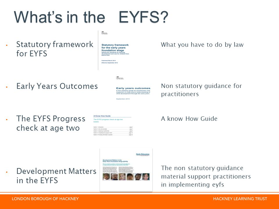 What's in the EYFS Statutory framework for EYFS Early Years Outcomes