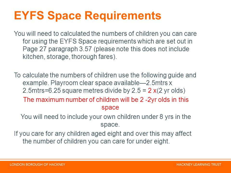 EYFS Space Requirements