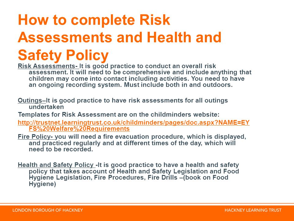 How to complete Risk Assessments and Health and Safety Policy