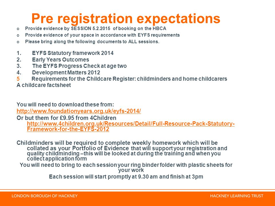Pre registration expectations