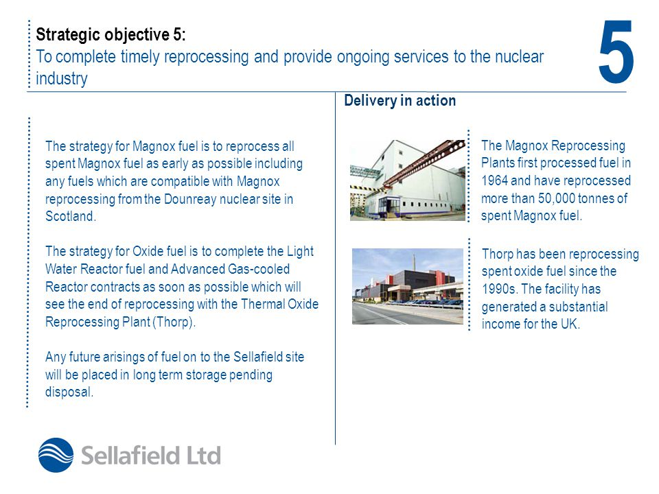 5 Strategic objective 5: To complete timely reprocessing and provide ongoing services to the nuclear industry.