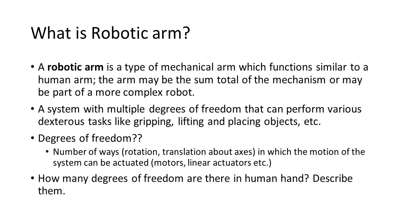 Degrees of freedom in Human hand