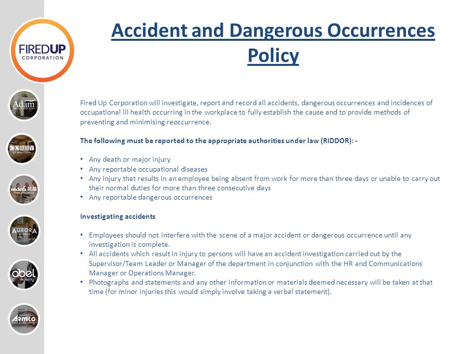 Accident and Dangerous Occurrences Policy