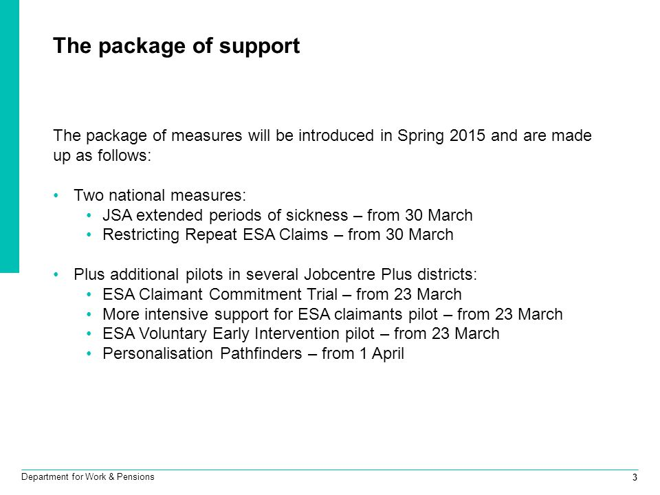 The package of support The package of measures will be introduced in Spring 2015 and are made up as follows: