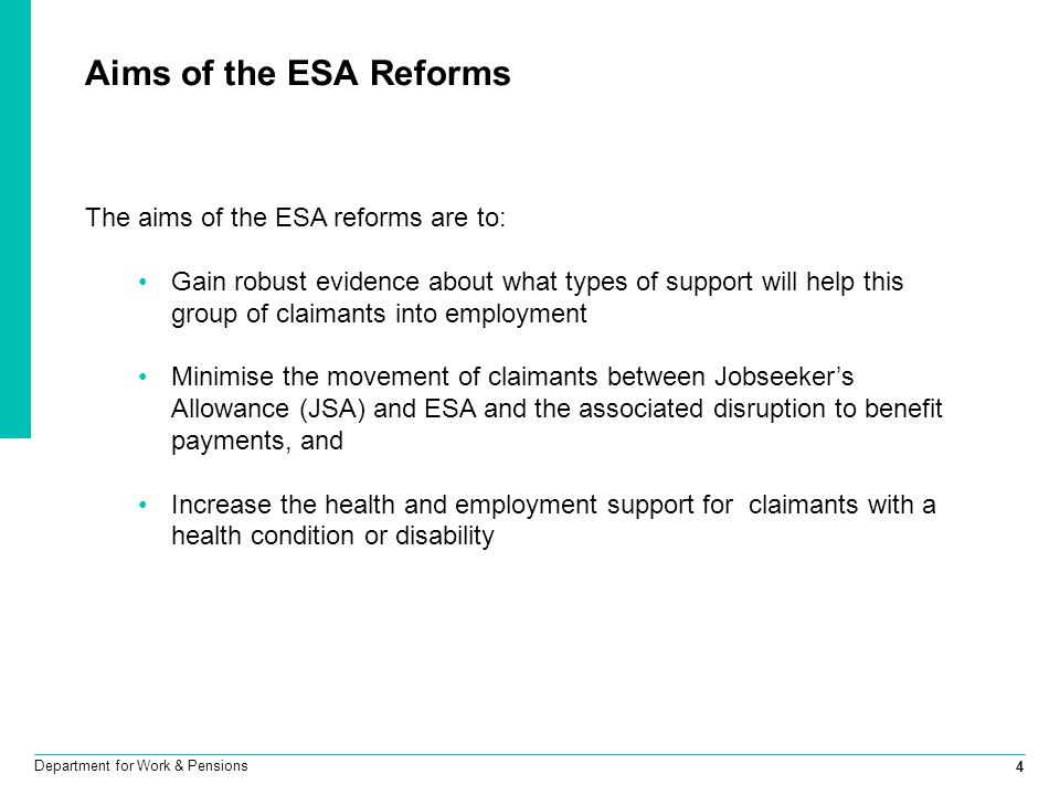 Aims of the ESA Reforms The aims of the ESA reforms are to: