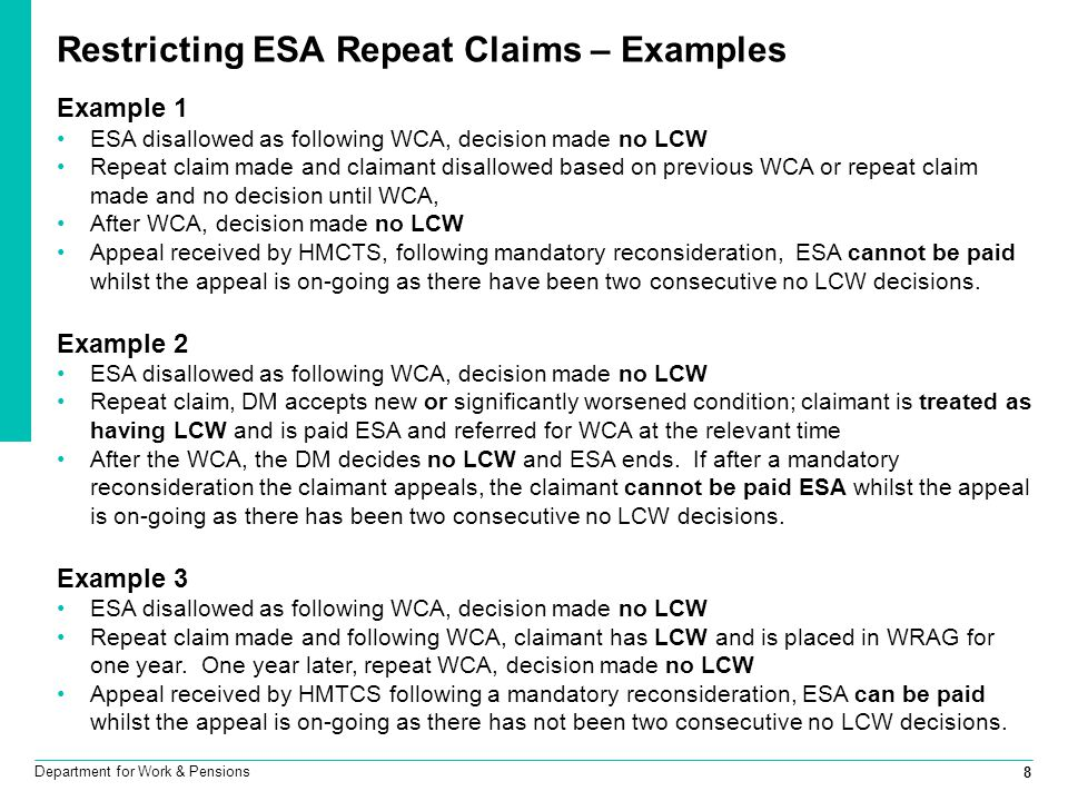 Restricting ESA Repeat Claims – Examples