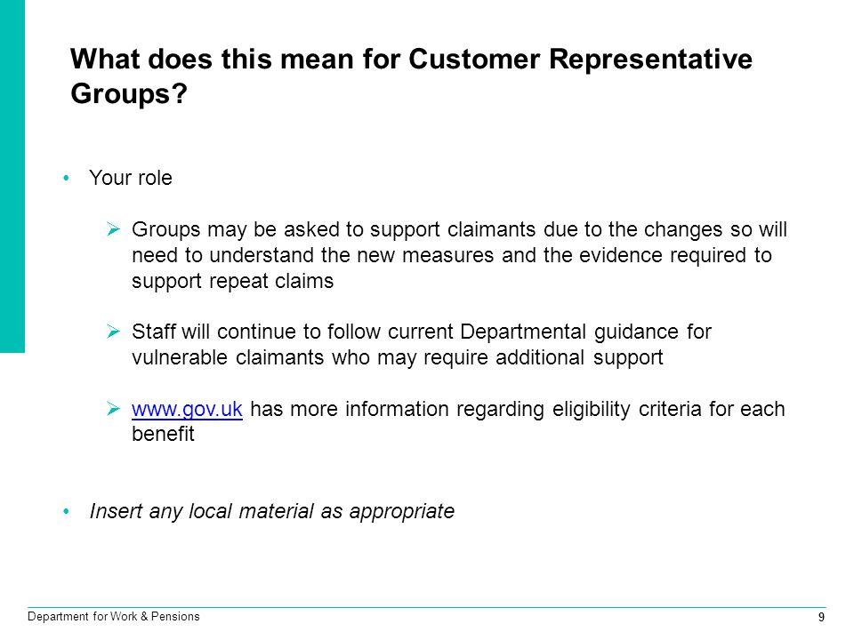 What does this mean for Customer Representative Groups