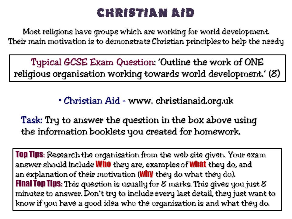 Christian Aid Typical GCSE Exam Question: 'Outline the work of ONE
