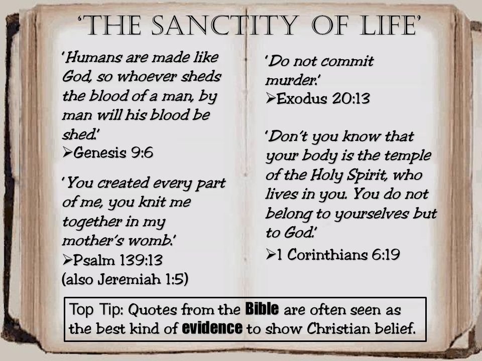 'The Sanctity of life' 'Humans are made like God, so whoever sheds the blood of a man, by man will his blood be shed.'
