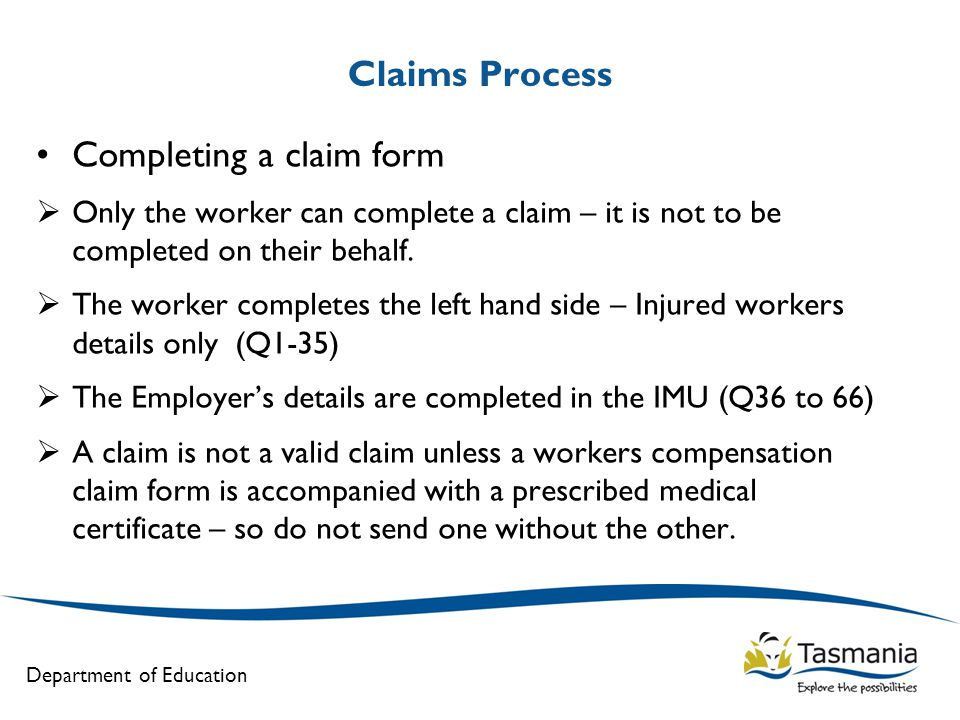 Completing a claim form