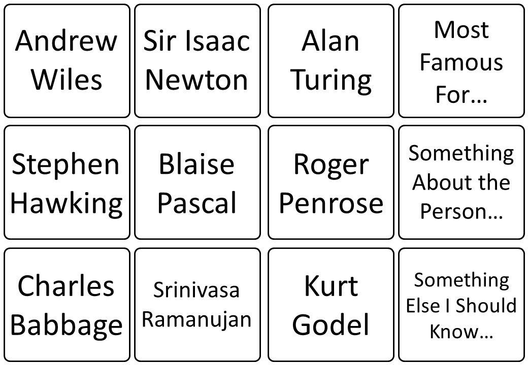 Andrew Wiles Sir Isaac Newton Alan Turing Stephen Hawking