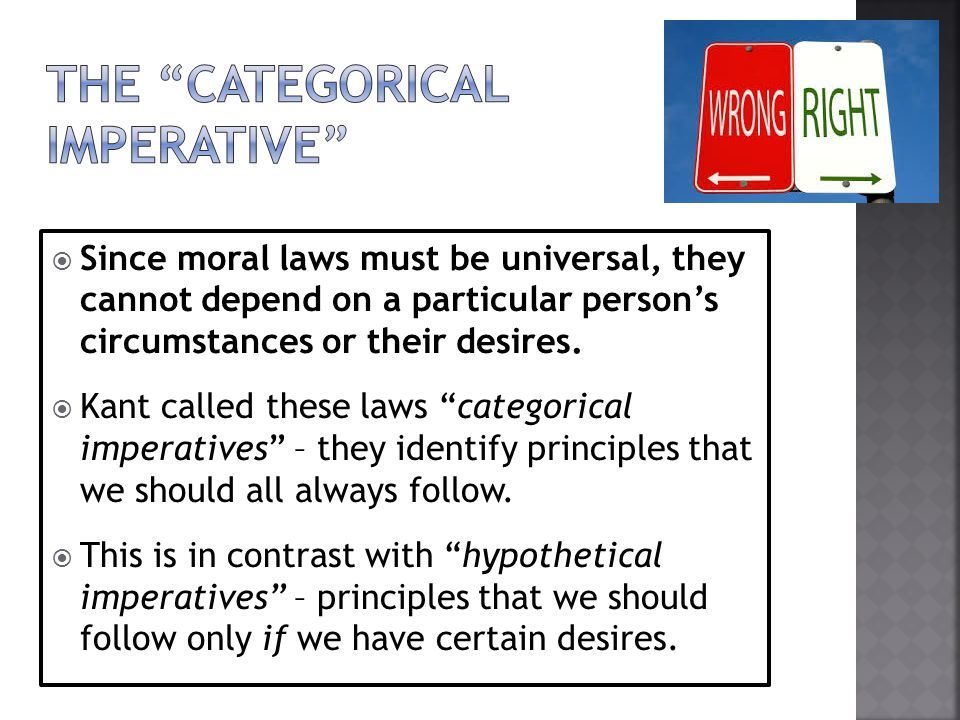 an analysis of the categorical imperative under kantian philosophy Free essay: kant: the universal law formation of the categorical imperative kantian philosophy outlines the universal law formation of the categorical.