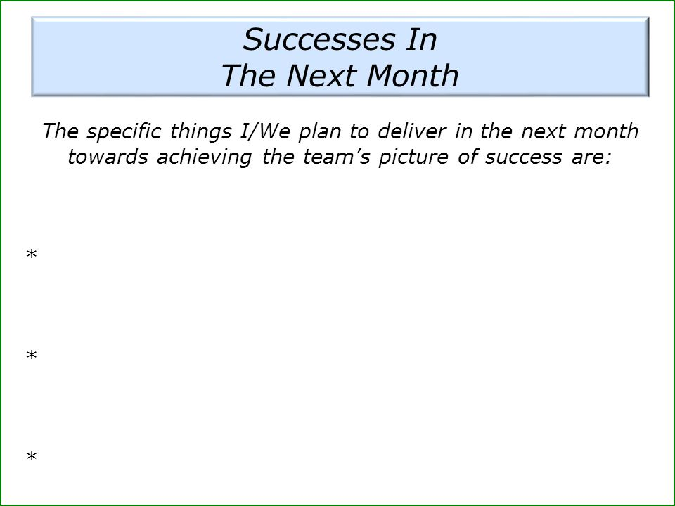 Successes In The Next Month