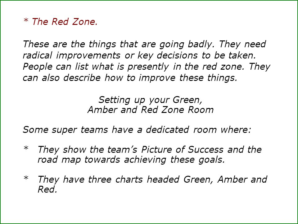 Setting up your Green, Amber and Red Zone Room
