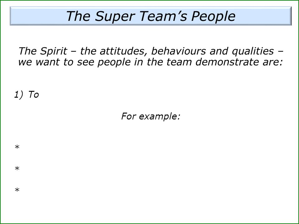 The Super Team's People