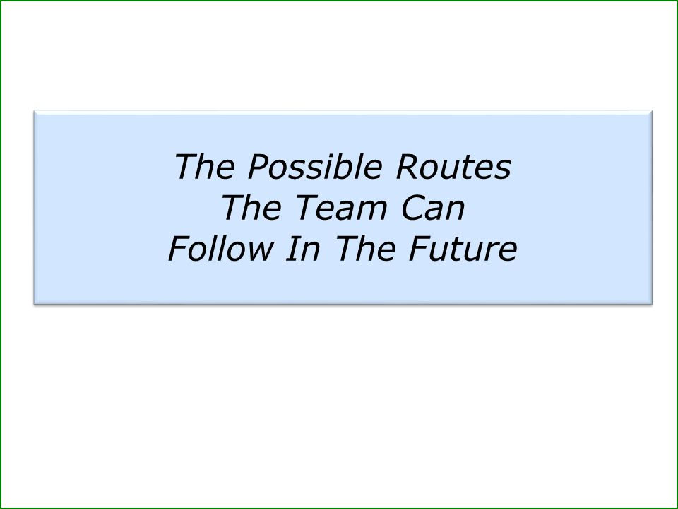 The Possible Routes The Team Can Follow In The Future