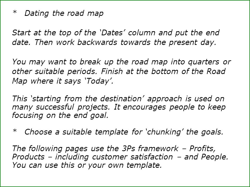 * Dating the road map Start at the top of the 'Dates' column and put the end date. Then work backwards towards the present day.