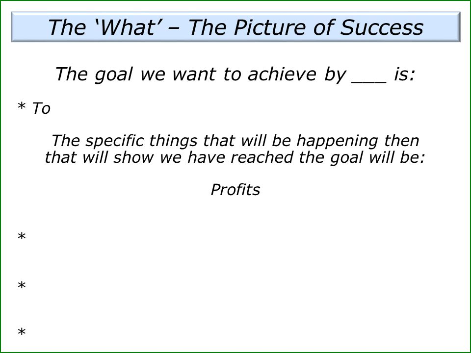 The 'What' – The Picture of Success