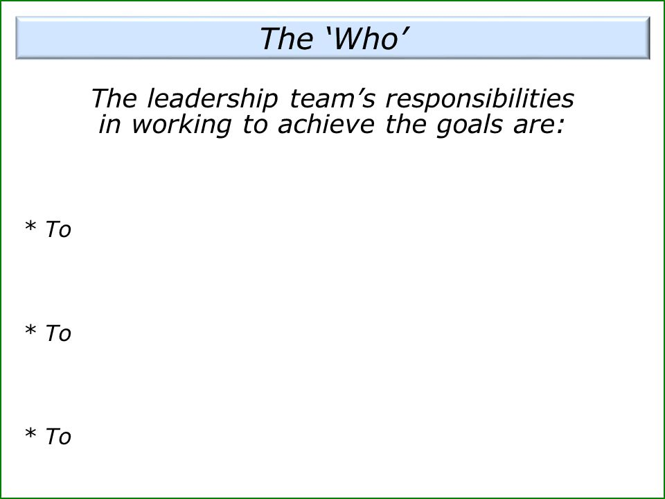The 'Who' The leadership team's responsibilities