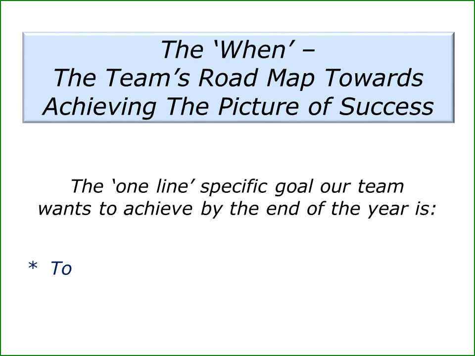 The Team's Road Map Towards Achieving The Picture of Success